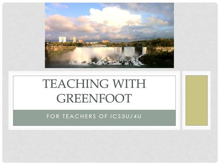 Teaching with Greenfoot