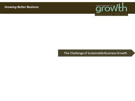 Growing Better Business The Challenge of Sustainable Business Growth.