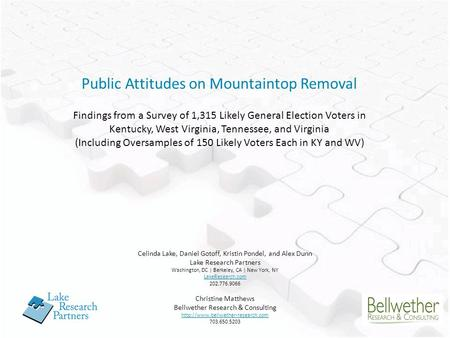Public Attitudes on Mountaintop Removal Findings from a Survey of 1,315 Likely General Election Voters in Kentucky, West Virginia, Tennessee, and Virginia.