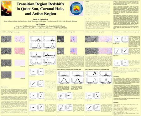 Transition Region Redshifts in Quiet Sun, Coronal Hole, and Active Region Ingolf E. Dammasch Solar Influences Data Analysis Center, Royal Observatory of.