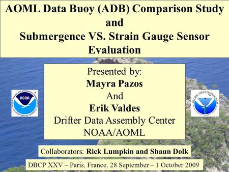 Presented by: Mayra Pazos And Erik Valdes Drifter Data Assembly Center NOAA/AOML Collaborators: Rick Lumpkin and Shaun Dolk DBCP XXV – Paris, France, 28.