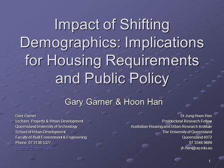 1 Impact of Shifting Demographics: Implications for Housing Requirements and Public Policy Gary Garner & Hoon Han Gary Garner Lecturer, Property & Urban.