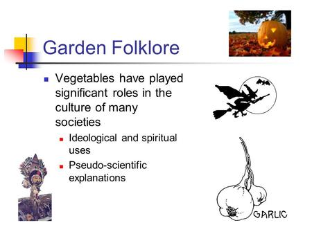 Garden Folklore Vegetables have played significant roles in the culture of many societies Ideological and spiritual uses Pseudo-scientific explanations.