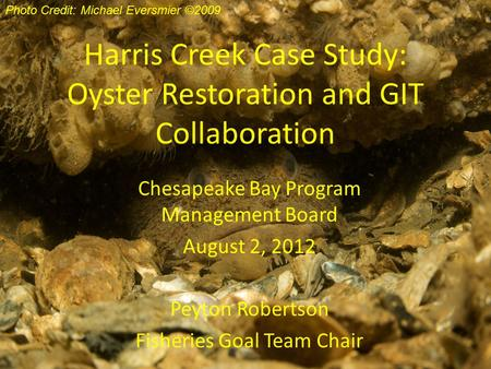 Harris Creek Case Study: Oyster Restoration and GIT Collaboration Chesapeake Bay Program Management Board August 2, 2012 Peyton Robertson Fisheries Goal.