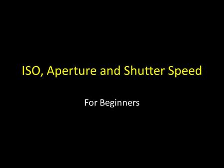 ISO, Aperture and Shutter Speed For Beginners. The photographer can control how much natural light reaches the sensor by adjusting the camera's ISO shutter.