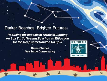 Darker Beaches, Brighter Futures: Reducing the Impacts of Artificial Lighting on Sea Turtle Nesting Beaches as Mitigation for the Deepwater Horizon Oil.