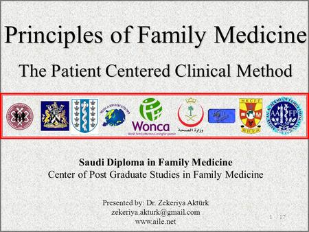 / 171 Saudi Diploma in Family Medicine Center of Post Graduate Studies in Family Medicine Principles of Family Medicine The Patient Centered Clinical Method.