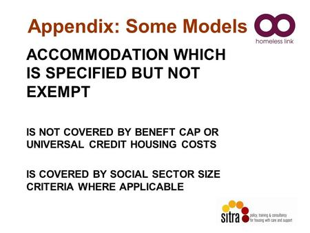 Appendix: Some Models ACCOMMODATION WHICH IS SPECIFIED BUT NOT EXEMPT IS NOT COVERED BY BENEFT CAP OR UNIVERSAL CREDIT HOUSING COSTS IS COVERED BY SOCIAL.