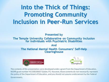 Presented by The Temple University Collaborative on Community Inclusion for Individuals with Psychiatric Disabilities And The National Mental Health Consumers'