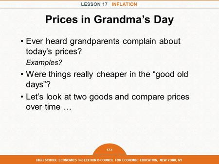 Prices in Grandma's Day