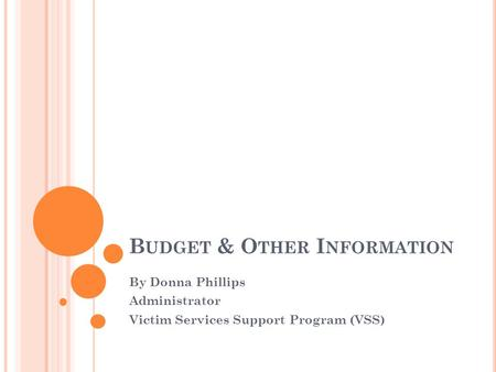 B UDGET & O THER I NFORMATION By Donna Phillips Administrator Victim Services Support Program (VSS)