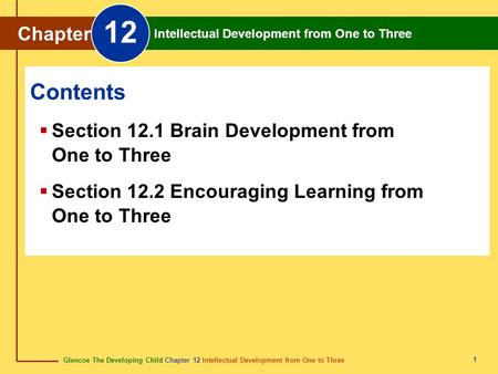 12 Contents Chapter Section 12.1 Brain Development from One to Three