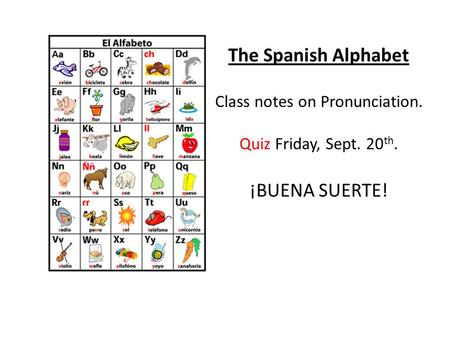 The Spanish Alphabet Class notes on Pronunciation. Quiz Friday, Sept. 20 th. ¡BUENA SUERTE!