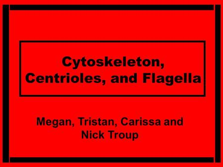 Cytoskeleton, Centrioles, and Flagella Megan, Tristan, Carissa and Nick Troup.