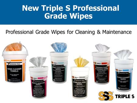 New Triple S Professional Grade Wipes Professional Grade Wipes for Cleaning & Maintenance.