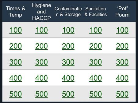 "Times & Temp Hygiene and HACCP Contaminatio n & Storage Sanitation & Facilities ""Pot"" Pourri 100 200 300 400 500."