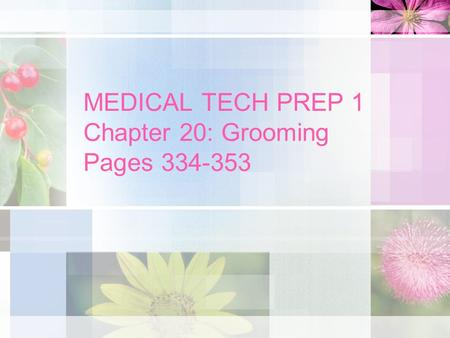 MEDICAL TECH PREP 1 Chapter 20: Grooming Pages 334-353.