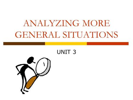 ANALYZING MORE GENERAL SITUATIONS UNIT 3. Unit Overview  In the first unit we explored tests of significance, confidence intervals, generalization, and.