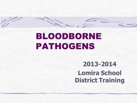 BLOODBORNE PATHOGENS 2013-2014 Lomira School District Training.