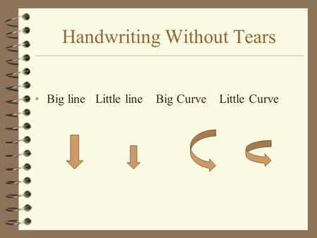 Handwriting Without Tears Big line Little line Big Curve Little Curve.