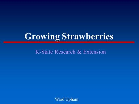 Growing Strawberries K-State Research & Extension Ward Upham.