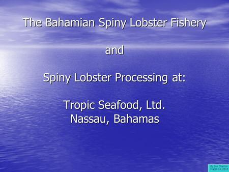 The Bahamian Spiny Lobster Fishery and Spiny Lobster Processing at: Tropic Seafood, Ltd. Nassau, Bahamas By Jon Chaiton March 14, 2013.