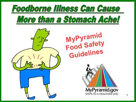1 MyPyramid Food Safety Guidelines. 2 Estimates of foodborne illnesses in the U.S. each year: 76 million people become ill 5,000 people die.