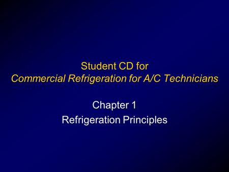 Student CD for Commercial Refrigeration for A/C Technicians