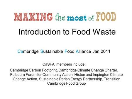 Introduction to Food Waste
