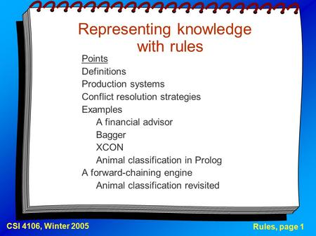 Rules, page 1 CSI 4106, Winter 2005 Representing knowledge with rules Points Definitions Production systems Conflict resolution strategies Examples A financial.