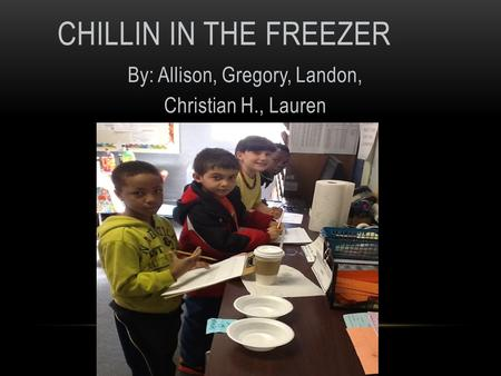 CHILLIN IN THE FREEZER By: Allison, Gregory, Landon, Christian H., Lauren.