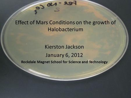 Effect of Mars Conditions on the growth of Halobacterium Kierston Jackson January 6, 2012 Rockdale Magnet School for Science and Technology.
