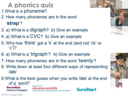 © Crown copyright 2006 A phonics quiz 1.What is a phoneme ? 2. How many phonemes are in the word ' strap '? 3. a) What is a digraph ? b) Give an example.