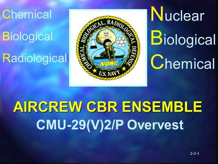 2-2-1 N uclear B iological C hemical AIRCREW CBR ENSEMBLE AIRCREW CBR ENSEMBLE CMU-29(V)2/P Overvest Chemical Biological Radiological.