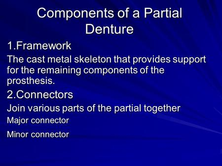 Components of a Partial Denture