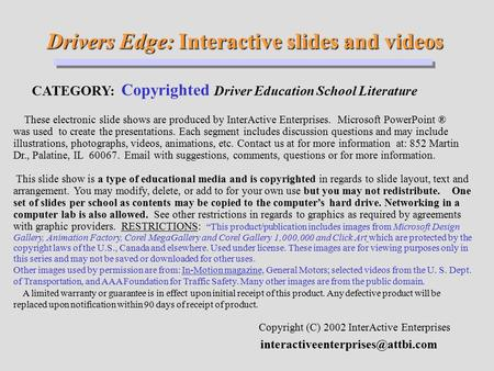 Drivers Edge: Interactive slides and videos