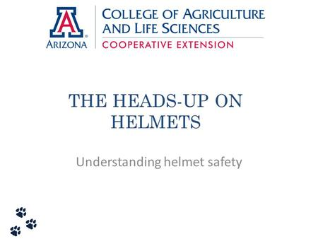 THE HEADS-UP ON HELMETS
