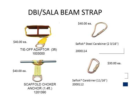 DBI/SALA BEAM STRAP TIE-OFF ADAPTOR (3ft) 1003000 SCAFFOLD CHOKER ANCHOR (1.4ft.) 1201390 Saflok® Steel Carabiner (2 3/16) 2000114 Saflok® Carabiner (11/16)