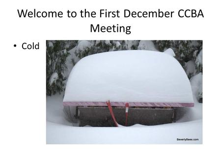 Welcome to the First December CCBA Meeting Cold. Agenda Introduction: Keith Jardine – President (chief drone) Kelly McGrory – Vice President Dan Borkoski.