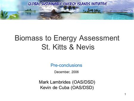1 Biomass to Energy Assessment St. Kitts & Nevis Mark Lambrides (OAS/DSD) Kevin de Cuba (OAS/DSD) Pre-conclusions December, 2006.