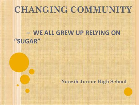 "CHANGING COMMUNITY – WE ALL GREW UP RELYING ON ""SUGAR"" Nanzih Junior High School."