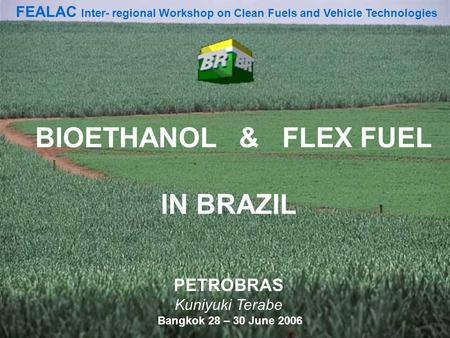 1 BIOETHANOL & FLEX FUEL IN BRAZIL PETROBRAS Kuniyuki Terabe Bangkok 28 – 30 June 2006 FEALAC Inter- regional Workshop on Clean Fuels and Vehicle Technologies.