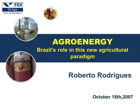 A October 18th,2007 Roberto Rodrigues AGROENERGY Brazil's role in this new agricultural paradigm.