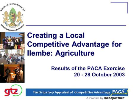 Creating a Local Competitive Advantage for Ilembe: Agriculture Results of the PACA Exercise 20 - 28 October 2003.