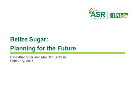 Belize Sugar: Planning for the Future Celestino Ruiz and Mac McLachlan February, 2015.