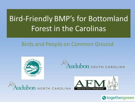 Bird-Friendly BMP's for Bottomland Forest in the Carolinas Birds and People on Common Ground.