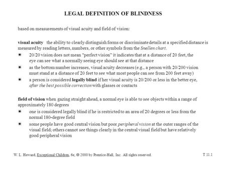 LEGAL DEFINITION OF BLINDNESS