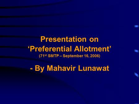 'Preferential Allotment'