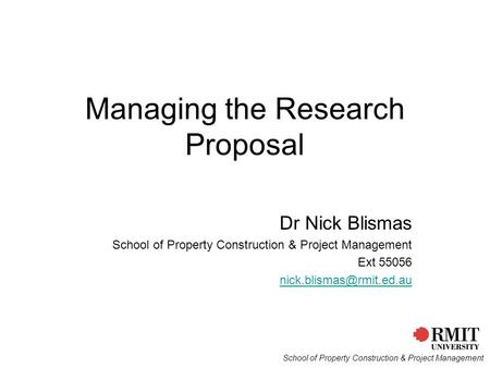 Managing the Research Proposal