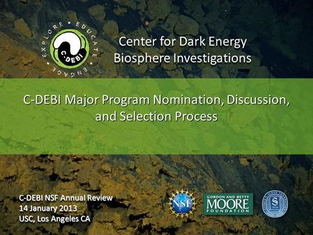 Center for Dark Energy Biosphere Investigations C-DEBI Major Program Nomination, Discussion, and Selection Process C-DEBI NSF Annual Review 14 January.